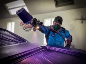Chris using luma 111 spray paint gun light attachment