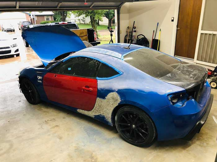 Subaru brz build getting torn down and bodywork started.